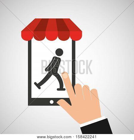 mobile phone silhouette sportman ice skate vector illustration eps 10