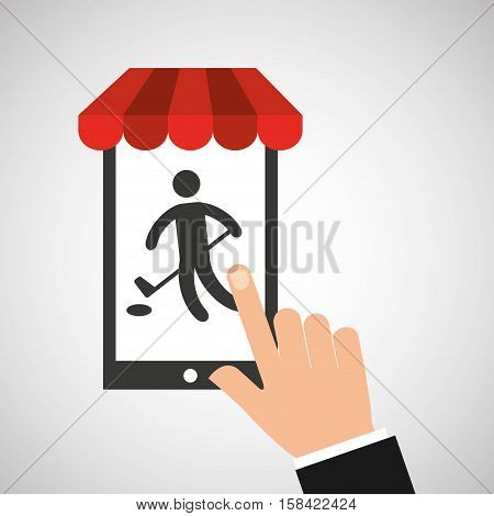 mobile phone silhouette sportman hockey vector illustration eps 10