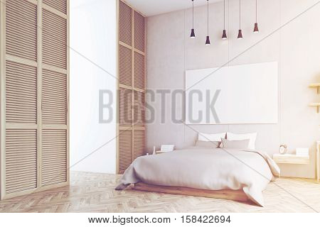 Bedroom With Poster And A Window In A Beige Wall, Toned