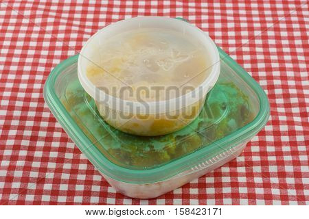 Frozen leftover squash thawing in plastic containers
