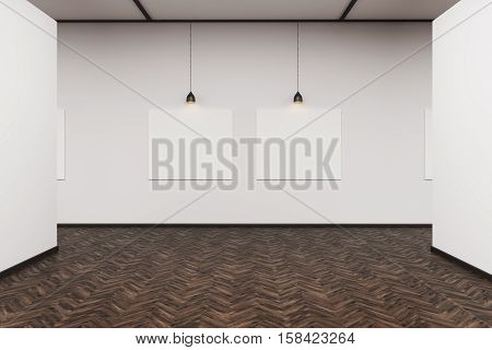 Two Pictures In A Dark Wood Floor Art Gallery