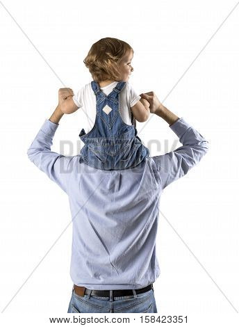 Rear view of a father holding his son in jeans overalls on his shoulders. Isolated portrait. Mock up