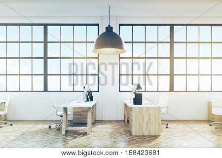Side View Of An Office With Wooden Floor And Furniture, Toned