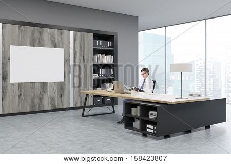 Man sitting in a CEO office at a massive wooden table. There are wooden doors and a horizontal poster on the wall. 3d rendering. Mock up
