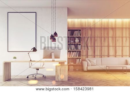 Ceo Table In His Office With Bookcase, Toned