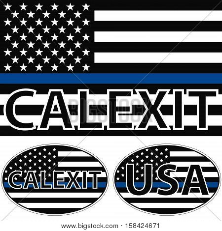 calexit American flag symbolic of support for law enforcement, USA flag with a blue stripe center, sticker calexit vector
