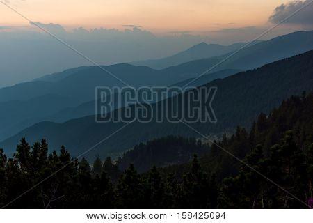 Sunset Landscape of nothen part of Pirin mountain near Sinanitsa peak,  Bulgaria