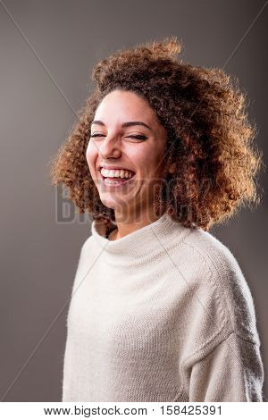 Happy Curly South-american Woman Laughter