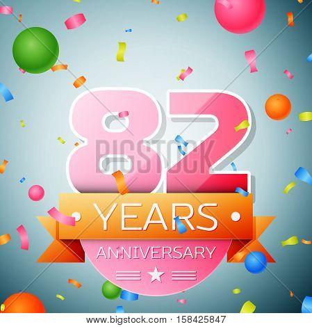 Eighty two years anniversary celebration background. Anniversary ribbon