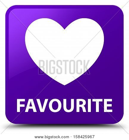 Favourite (heart icon) isolated on abstract purple square button