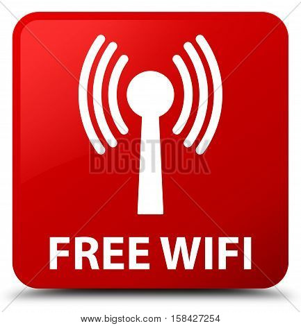 Free Wifi (wlan Network) Red Square Button