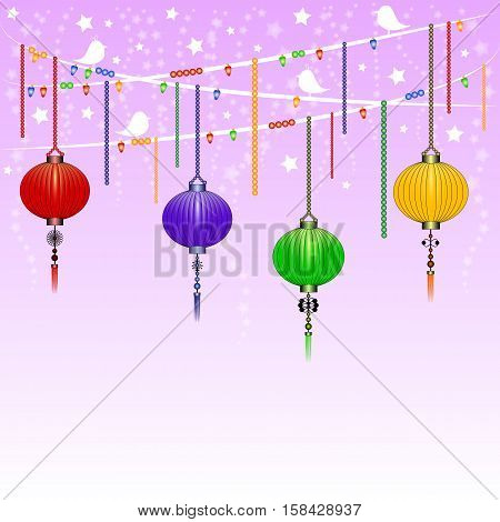 Greeting postcard to Chinese New Year. Garland with colorful sky lanterns on background of twilight lilac starry sky. Vector illustration