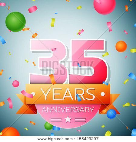 Thirty five years anniversary celebration background. Anniversary ribbon