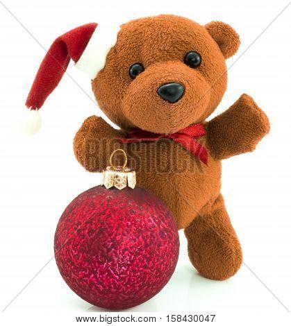 Teddy Bear With Red  Christmas Balls /christmas/teddy