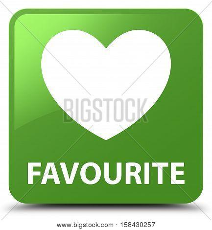 Favourite (heart Icon) Soft Green Square Button