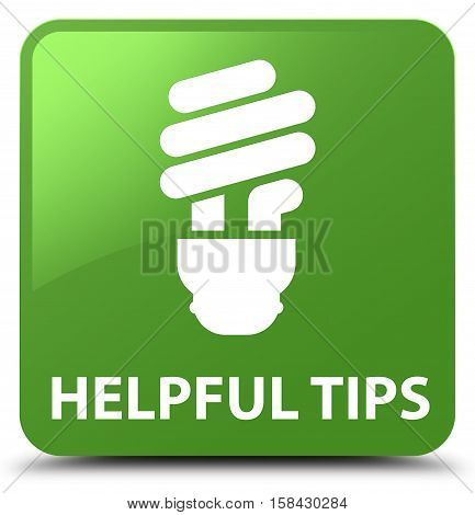 Helpful Tips (bulb Icon) Soft Green Square Button