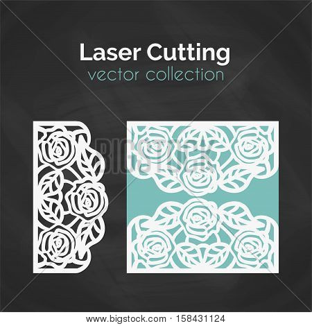Laser Cutting Roses Card. Laser Cut Template. Cutout Illustration With Flowers. Die Cut Wedding Invitation Card. Vector Envelope Design.