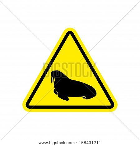 Walrus Warning Sign Yellow. Seal Hazard Attention Symbol. Danger Road Sign Triangle Northern Animal