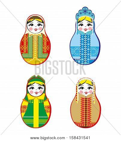 Nested dolls set. Matryoshka dolls with different traditional Russian ornaments. Isolated vector illustration. Eps 10