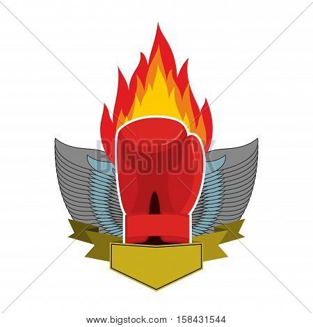 Boxing Logo. Gloves And Wings. Emblem For Sports Team And Fight Club. Combat Badge For Athletes