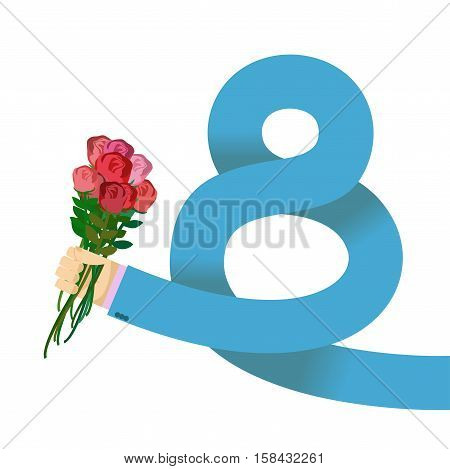 8 March International Womens Day. Man Hand In Jacket Gives Roses. Holiday Symbol. Eight Emblem. Cong