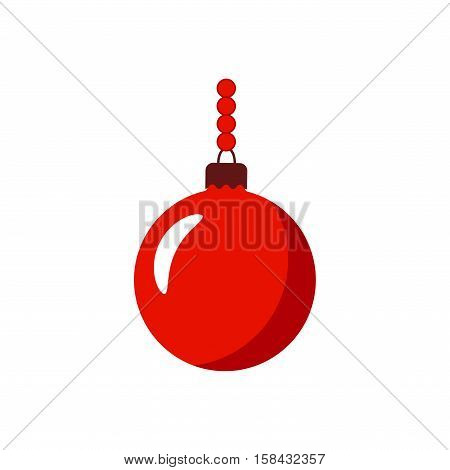 Christmas tree ball with chain. Red bauble decoration isolated on white background. Symbol of Happy New Year Xmas holiday celebration winter. Flat design for card. Vector illustration