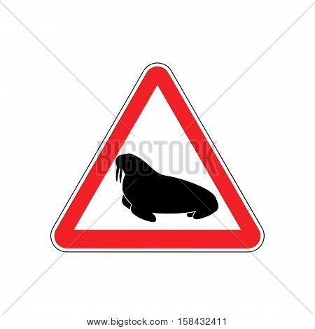 Walrus Warning Sign Red. Seal Hazard Attention Symbol. Danger Road Sign Triangle Northern Animal