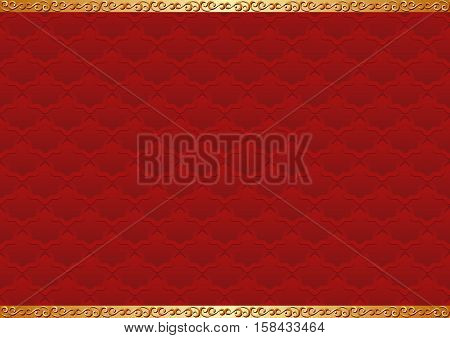 red background with antique ornaments - vector illustration