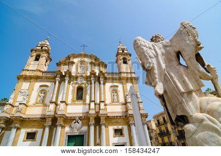 The Basilica San Domenico. Sicilian Barocco. Palermo, Sicily.