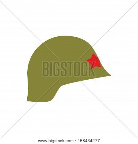 Retro Military Helmet Isolated. Vintage Army Cap On White Background. Soldiers Protection Hat