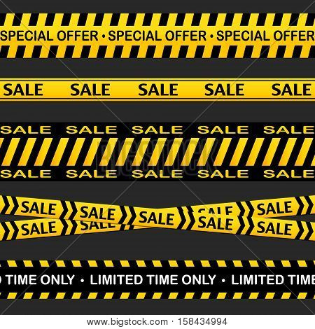 Sale cross line vector sign. Advertising black friday illustration. Attention zone Warning stripe border. Horizontal lines with stripes, sale, limited time promotion, special offer