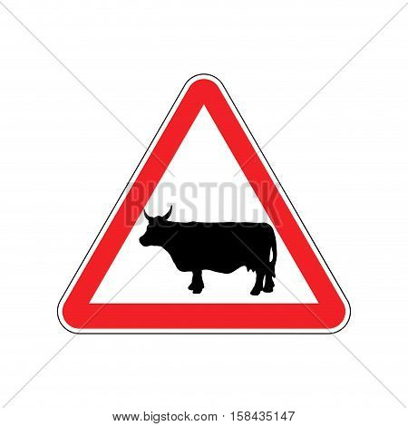 Cow Warning Sign Red. Farm Hazard Attention Symbol. Danger Road Sign Triangle Cattle