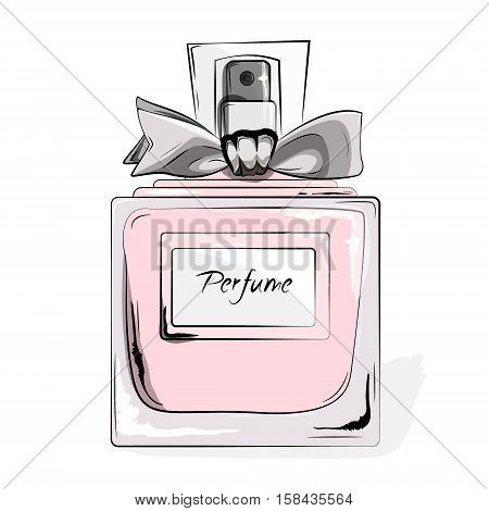Haute Couture Watercolor Art Card. Perfume pink bottle in vector. Trendy woman glamour print. Fashion, Style, beauty. Aroma liquid. Cosmetic fragrance