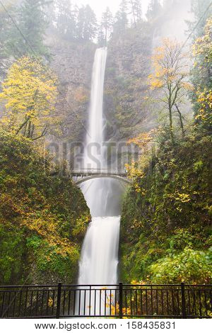 Multnomah Falls in the Columbia River Gorge just outside Portland, Oregon