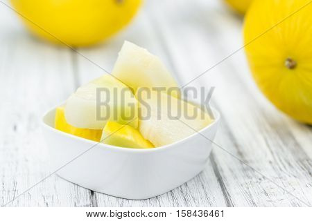 Portion Of Yellow Honeydew Melon (selective Focus)