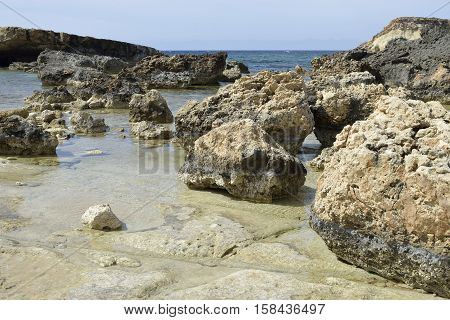 Beach & Eroded Rocks Cape Drepano Agios Georgios Cyprus