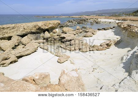 Mediterranean Coast at Cape Drepanon Agios Georgios Pegeia Cyprus