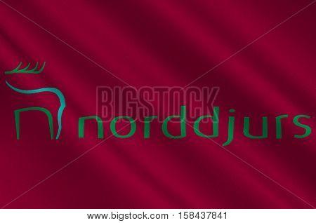 Flag of Norddjurs in Central Jutland Region in Denmark. 3d illustration