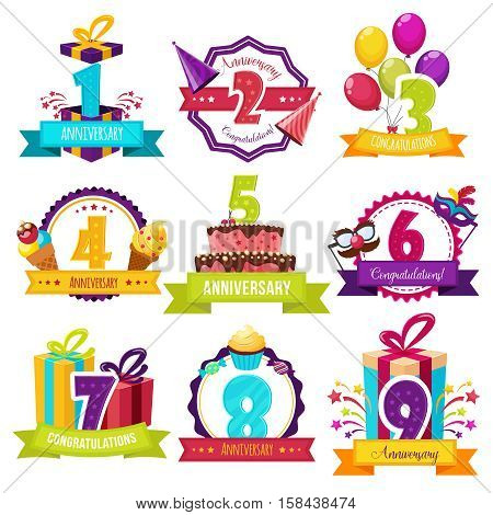 Birthday party colorful emblems with number of years icecream and gifts balloons and ribbons isolated vector illustration