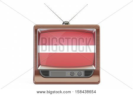 old tv with flag of Latvia. Latvian Television concept 3D rendering