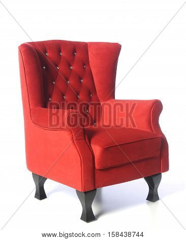 Luxury red armchair isolated on white background