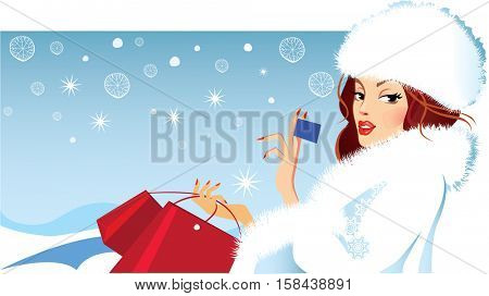 banner of fashion girl in winter fluffy clothes holding a card in his hand, shopping