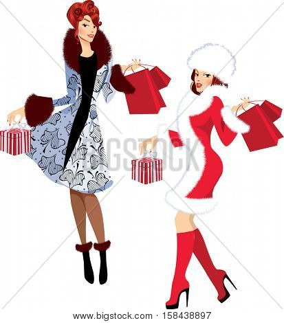 fashion girls in winter clothes with gifts