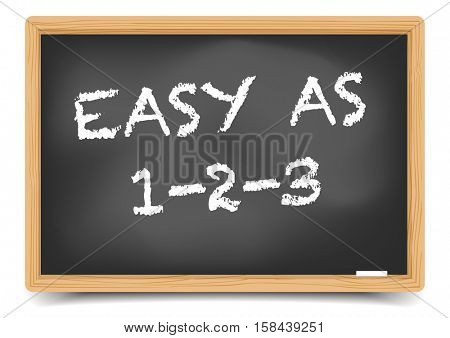 detailed illustration of a blackboard with Easy As 123 text, eps10 vector, gradient mesh included poster