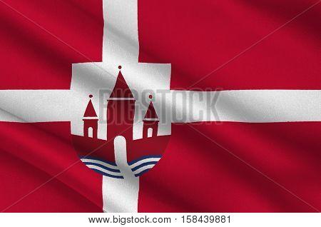 Flag of Randers in Central Jutland Region in Denmark. 3d illustration