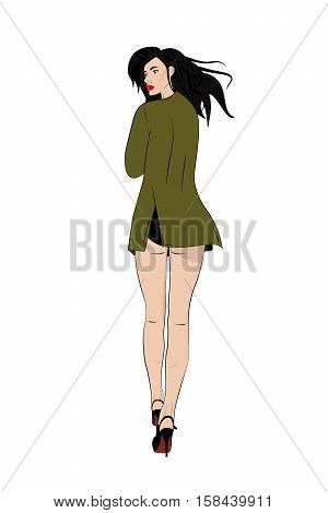 Vector swag girl pop art illustration. Modern lifestyle. Sexy woman in trench coat on heels with fluttering hair and red lips. Pinup print. Attractive young hommie walking. Comic character.Gossip girl