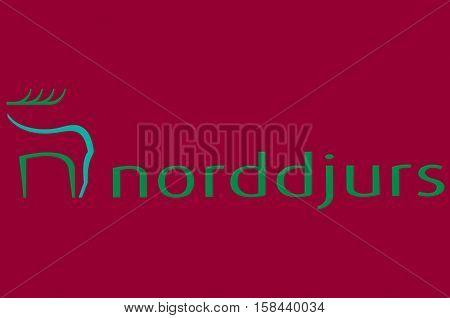 Flag of Norddjurs in Central Jutland Region in Denmark.