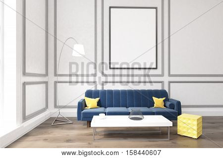 Living Room With Poster, Blue Sofa And A Coffee Table