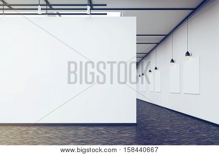 Art Gallery With A Blank Wall And Row Of Pictures, Toned