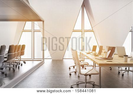 Open Office With Triangular Windows, Toned
